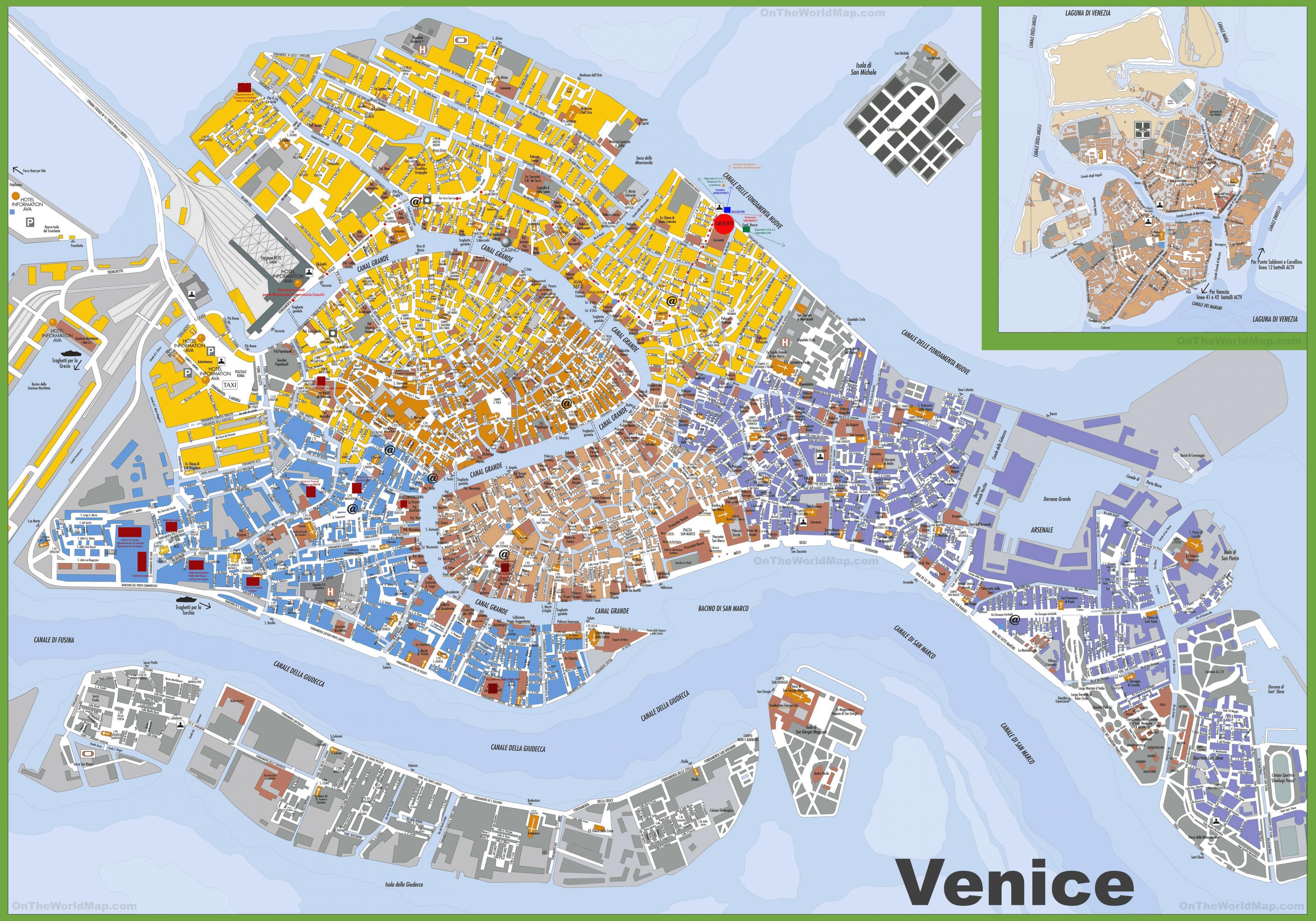 Cartina Centro Venezia.Il Centro Di Venezia Sulla Mappa Centro Della Mappa Di Venezia Italia