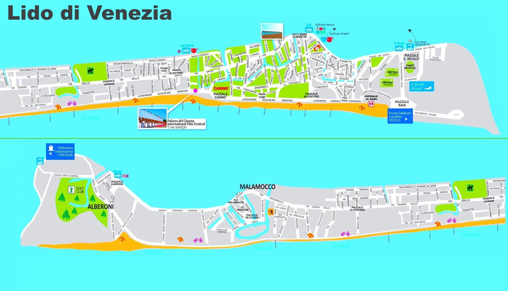 Cartina Turistica Di Venezia.Lido Di Venezia Mappa Mappa Di Lido Di Venezia Italy Italia