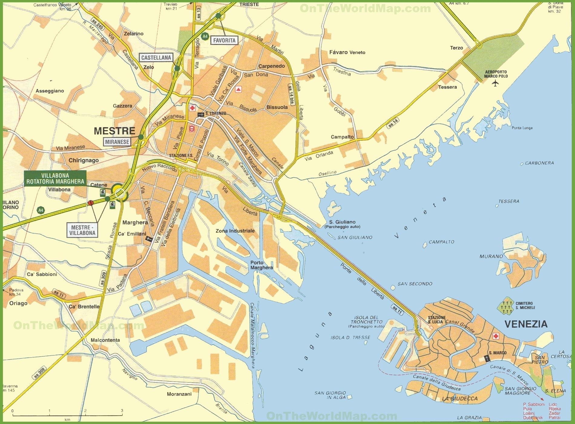 Cartina Mestre Venezia
